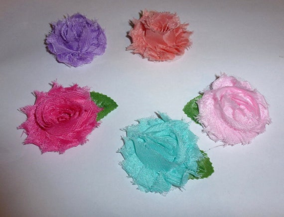 CLEARANCE ~ Shabby chic SMALL set of 5 pink aqua purple peach flowers pet hair bow barrettes or bands (fb103)