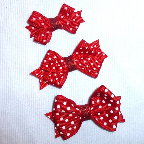 Puppy Bows ~ dog hair SMALL pet snap clips red white polka dots 3 sizes 5 colors topknots (CD)