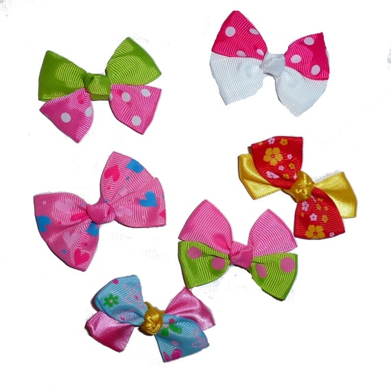 Puppy Bows ~  6 pink green yellow fancy dog hair bow latex bands or barrettes everyday dog grooming bows (fb215)