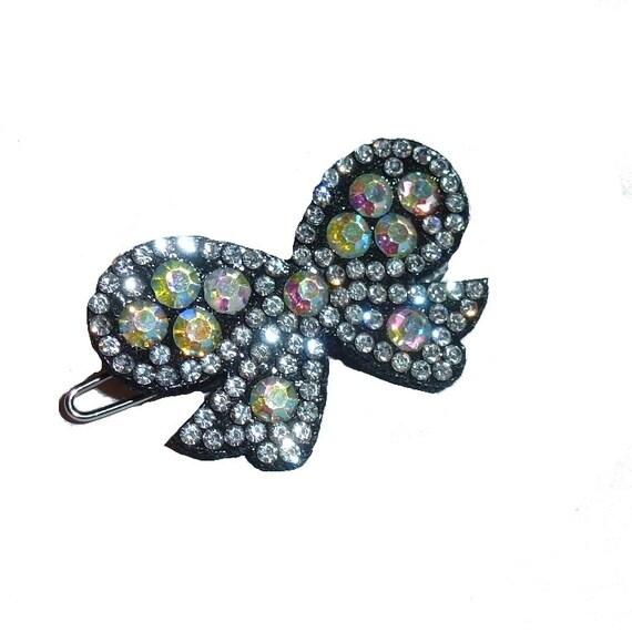"Puppy Bows Sparkling crystal ab on black rhinestone pet hair bowknot barrette 1.5"" (fb50)"