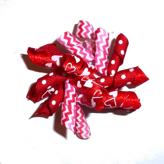Puppy Bows ~ Valentine's day dog collar slide accessory red/white korker hearts pet bow barrette  ~USA seller (fb162)