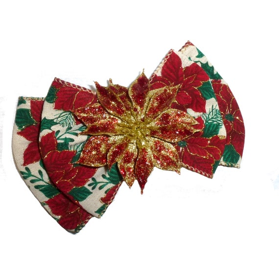 Puppy Bows ~ XL poinsettia dog bow Christmas collar slide flower red green  ~USA seller (fb162)