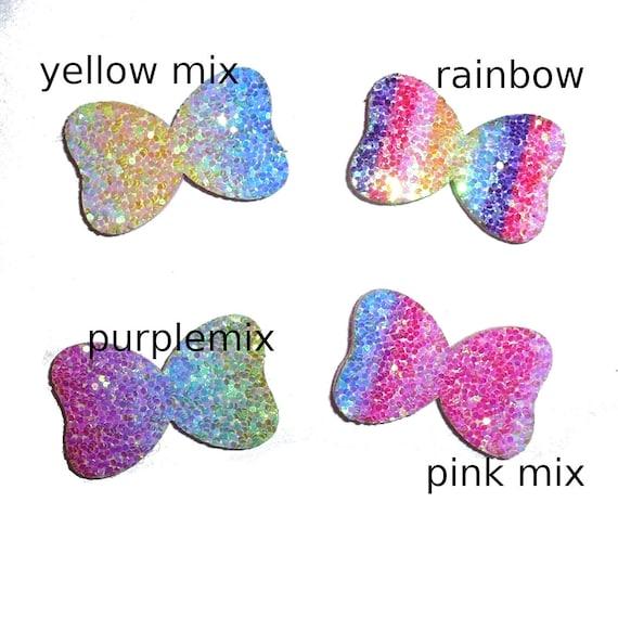 "Rhinestone 1"" glitter rainbow ombre  pet hair dog bow barrettes or bowknot bands (fb271)"