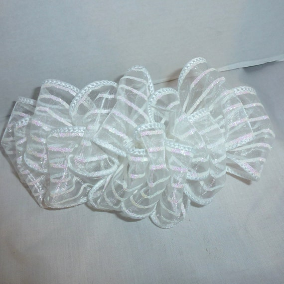 Becky Bows~  Barrette Hand crafted huge ribbon BIG hair bow Women or Girls giant white glitter snow