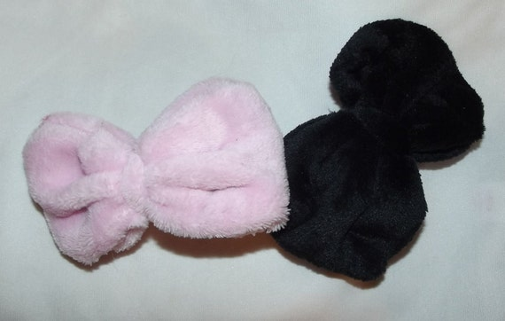 "Becky Bows ~ Ladies large 5"" puffy fuzzy fleece bows Pink and Black hair french barrette ~USA seller"