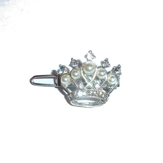 "Puppy Bows ~ TINY 3/4"" rhinestone pearl crystal crown dog bow  pet hair clip topknot barrette  (fb283)"