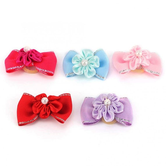 Puppy Bows ~  Set of 5 silver edged pink red purple blue daisy pearl pet hair bow