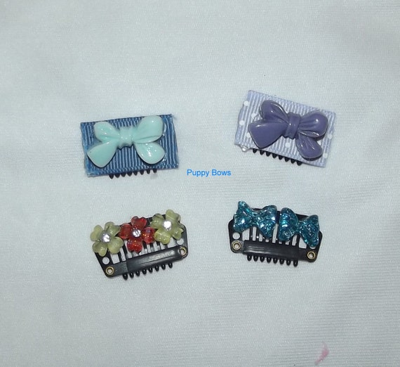 Puppy Bows ~set of 4 comb snap clip barrettes blue and purple bowknots for dogs~Usa seller