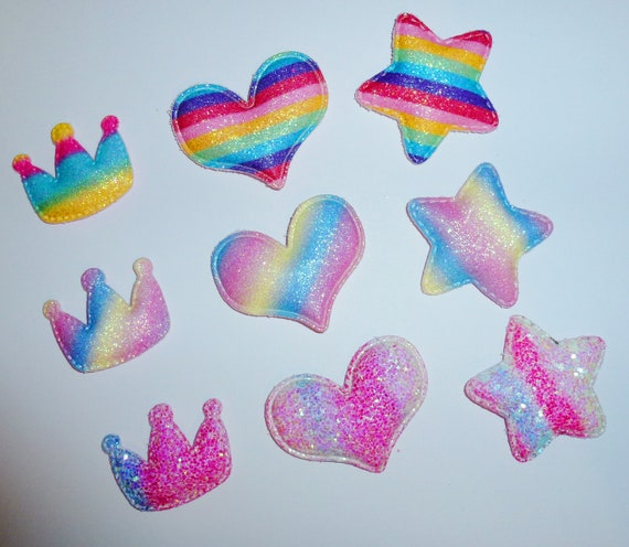 Puppy Dog Bows ~ RAINBOW (set of 3) crown heart star pet hair bow barrettes or bands (fb132)
