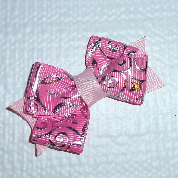 Puppy Bows ~Pink/silver swirl  dog pet  hair bowknot bow bands or barrette or collar slide  (fb119)~USA seller