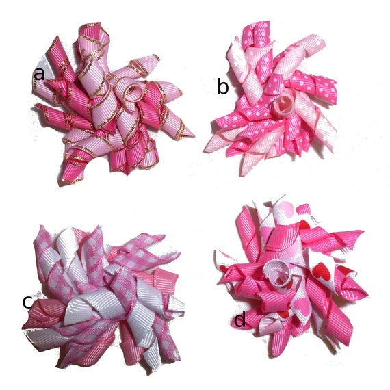 Puppy Bows ~ Pink white Korker twist pet hair clip  barrette or bands pet dog bow