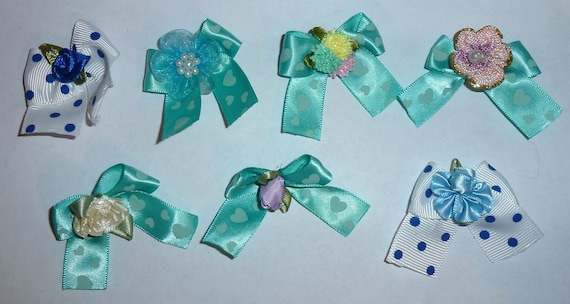 Puppy Bows ~7 teal blue EVERYDAY BOWS Yorkie Maltese Shih Tzu ~Usa seller (fb81)
