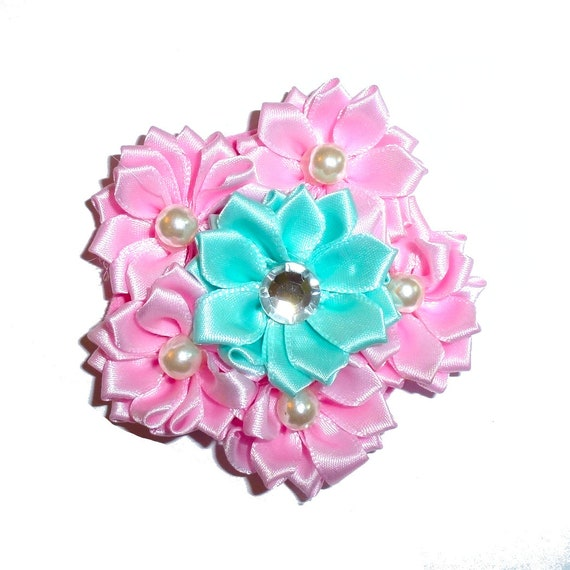 Puppy Bows ~ Dog collar slide bow large dog hair bows pink daisy flowers and pearls ~USA seller (DC3)