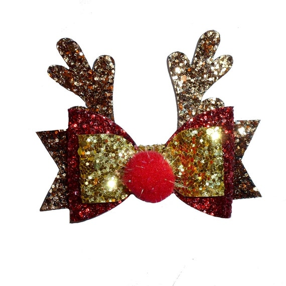 Christmas dog bow Rudolph reindeer red nose dog collar slide accessory  hair bows barrettes or bands (dc11)
