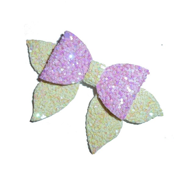 """Puppy Bows ~ Pink yellow candy glitter small 2.5"""" glitter pet hair bow  (fb300)"""