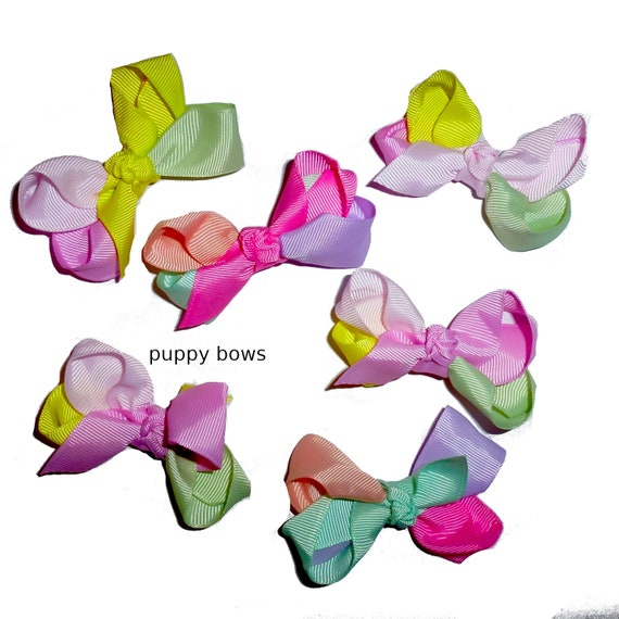 "Puppy Bows ~  5 assorted pink purple BIG DOG boutique 3"" wide hair bow latex bands or clips (FB214)"