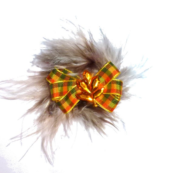 Puppy Bows ~Thanksgiving oak leaf brown orange green marabou feather dog pet  hair bowknot bow bands or barrette or collar slide ~USA seller