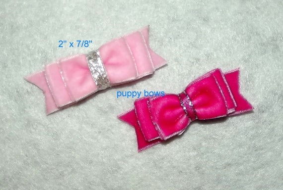 Puppy Bows ~  Pink, blue, green, purple, orange velvet double loop show bow latex bands or barrette   (fb76)