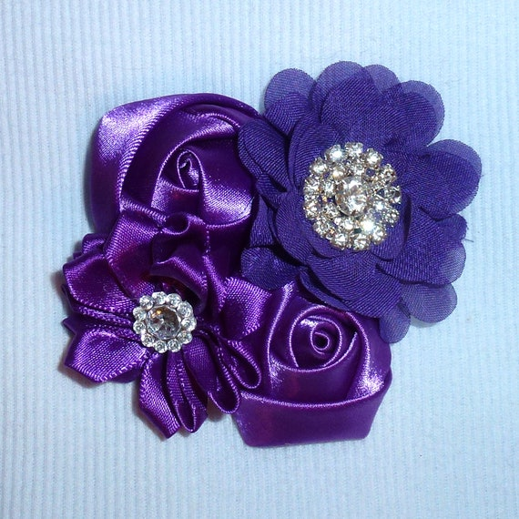 Puppy Bows ~ Dog collar slide bow large dog hair bows purple roses lace and rhinestones ~USA seller (fb162)