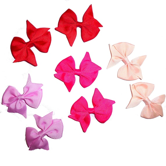 Puppy Bows ~ Pairs! dog pet pink peach red  hair bowknot bow bands or barrette  (fb42)