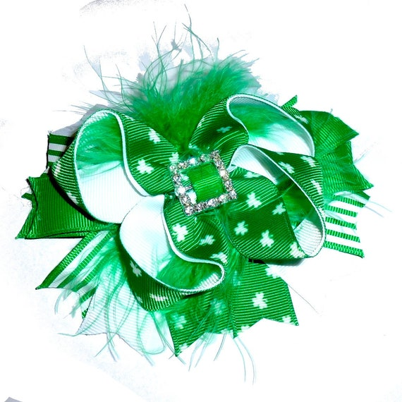Puppy Bows ~ Rhinestone buckle St. Patrick's Day  dog bow  collar slide decoration feather marabou boa  ~USA seller (DC2)