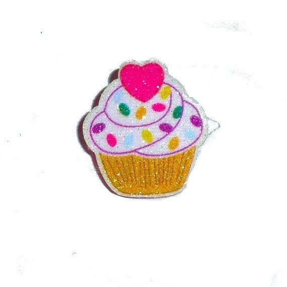 "DogBowBarrettes ~ Birthday 1"" glitter cupcake pet hair barrette or latex bands dog bow (FB198)"