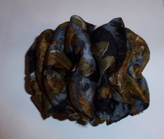 Becky Bows ~ OOAK ladies  Hand crafted SILK shabby chic  BIG fashion hair bow for Women or Girls giant black brown gray