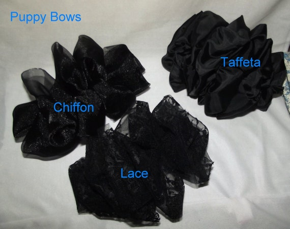 Becky Bows ~ Barrette oversized ladies Scarf BIG hair bow Women or Girls large  SOLID BLACK lace taffeta chiffon