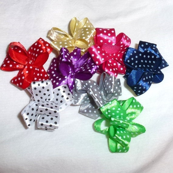 Puppy Bows ~ Polka dots satin Party puffs dog grooming bows -  FREE SHIPPING
