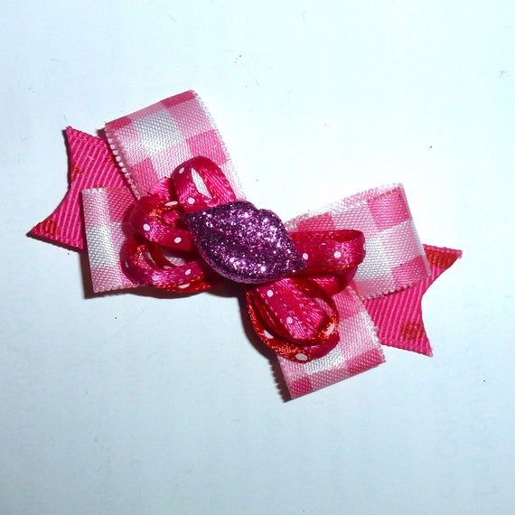 Puppy Bows ~ Valentine's day red or pink lips gingham barrette or bands pet dog bow (fb121)