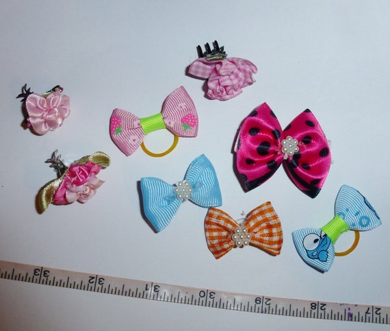 Puppy Bows ~ SALE! Assorted set including alligator clips and jaw clips everyday bows pink flowers  ~USA seller (fb125)