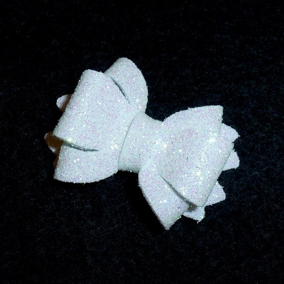 Puppy Bows ~ white (more colors) glitter pet hair bow with latex bands or barrette (fb142)