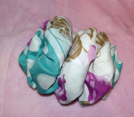 Becky Bows ~OOAK ROSETTE Barrette Hand crafted giant huge Scarf BIG hair bow Women or Girls white purple turquoise blue