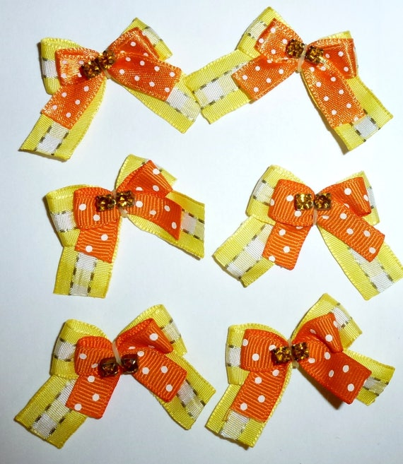 Puppy Bows ~6 orangeyellow  EVERYDAY BOWS Yorkie Maltese Shih Tzu ~Usa seller (fb81)