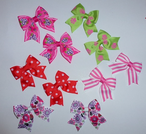 Puppy Bows ~ 10 dog bow for girls - pairs dog grooming pet hair bows - (218c)