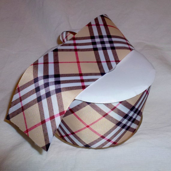 "Puppy Bows ~ ribbon craft supplies  3"", 7/8""  diagonal pattern brown tan black red Scottish berry  plaid ribbon buy per yard"