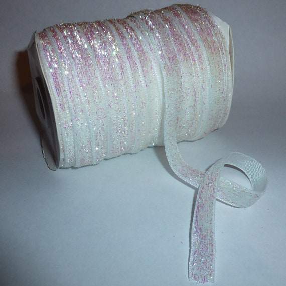 Puppy Bows ~  craft supplies white AB velvet glitter ribbon NON stretch 3/8""
