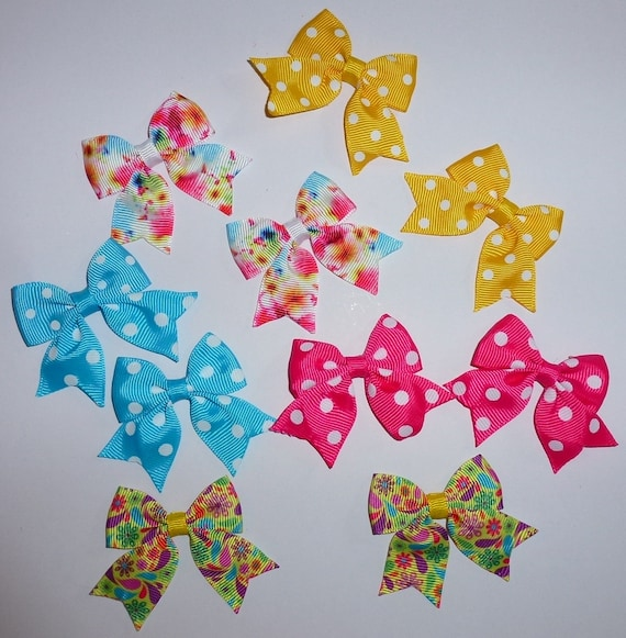 Puppy Bows ~ 10 dog bow for girls - pairs dog grooming pet hair bows - (218m)