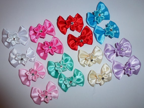 Puppy Bows ~  - Sweet satin EIGHT COLOR CHOICES  bellflower centers pairs dog grooming pet hair bows - (FB216)