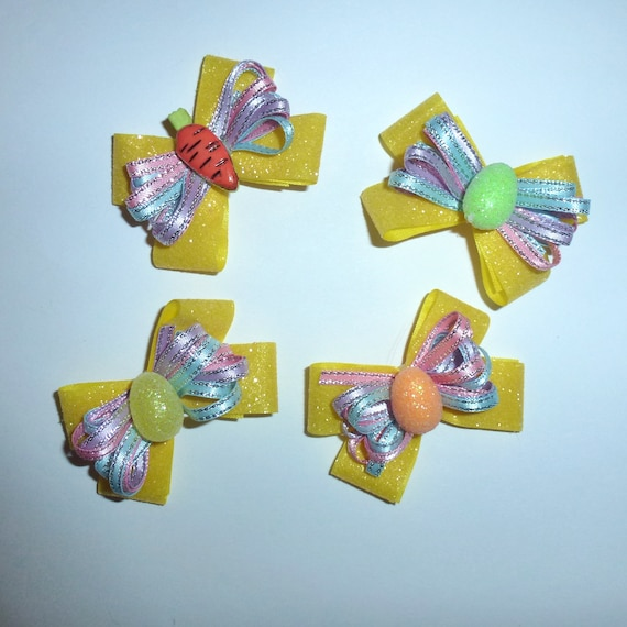 Puppy Bows ~Easter carrot egg dog bow  pet hair clip barrette or latex bands (fb133)