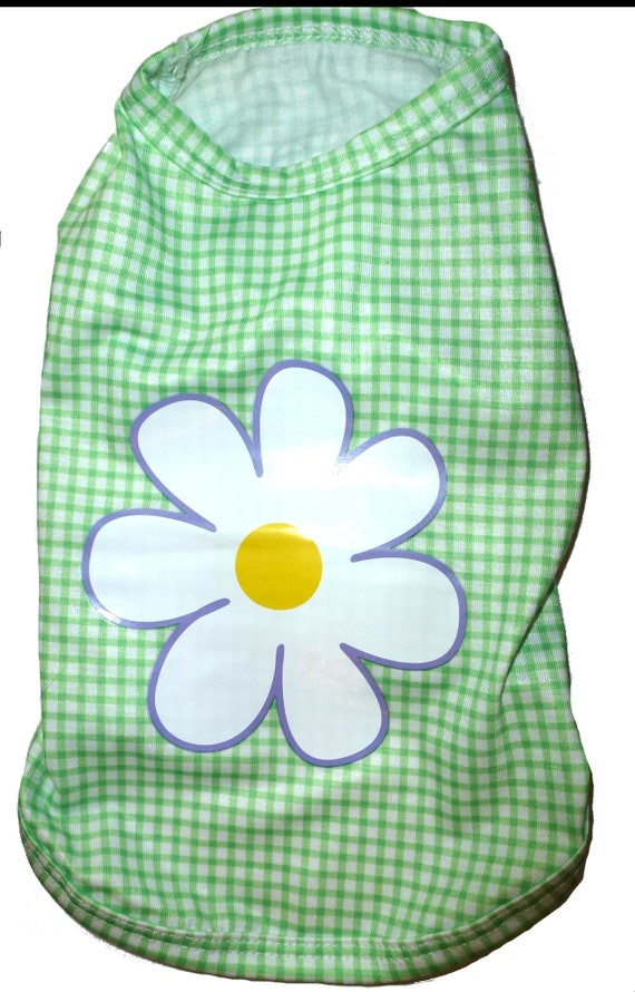 """Green gingham check daisy dog shirt dress size small 14"""" chest (A27)"""