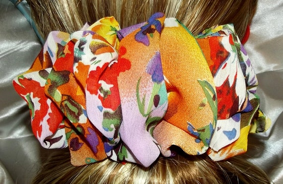 Becky Bows ~  Barrette scarf Hand crafted oversized  BIG hair bow Women or Girls burgundy orange floral