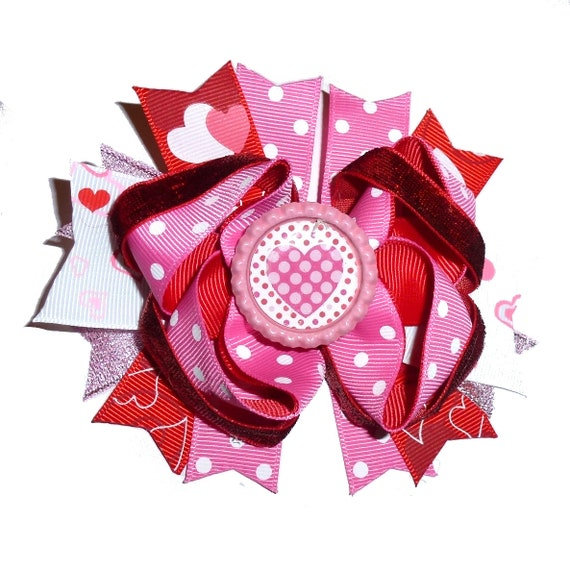 Puppy Bows ~ Dog collar slide bow Valentine's day pink black dots heart accessory  (DC13)