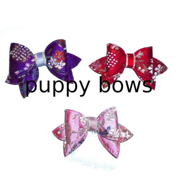 Puppy Bows ~   Silk brocade pink, purple or red big dog hair bowknot bow bands or barrette  (fb316)