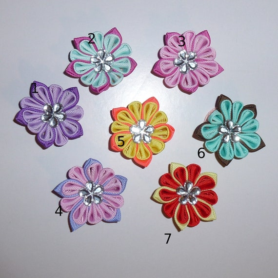 Puppy Dog Bows ~ Daisy Kanzashi pet hair bow barrettes MANY COLORS! (SBB)