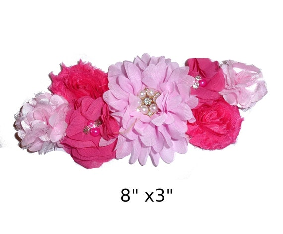 Puppy Bows ~ Extra long dog collar slide  accessory light dark pink flowers pearls  ~USA seller (P6)