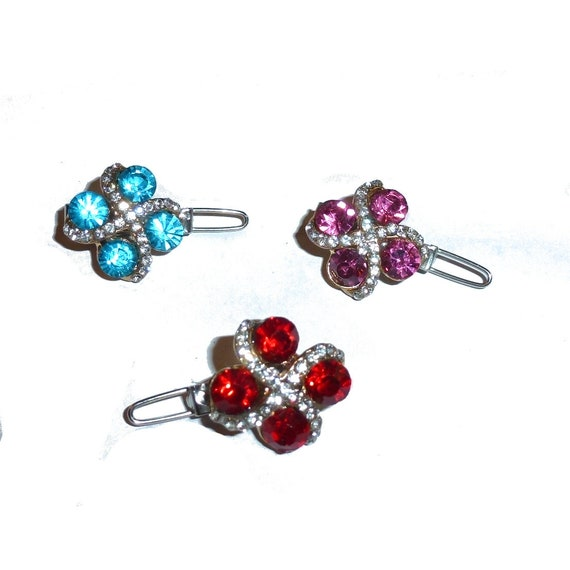 """Dog Bows pink blue or red crystal square rhinestone Super tiny  3/4"""" pet hair barrette clip (TB18)"""