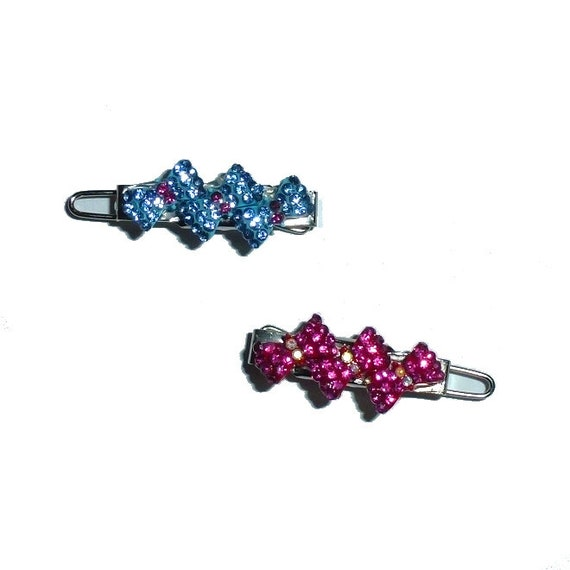 Pink or blue triple rhinestone bow dog hair barrette pet hair clip