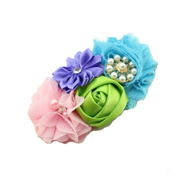 Puppy Bows ~ Dog collar slide bow large dog hair bows turquoise blue green pink  lace and rhinestones ~USA seller (fb162)