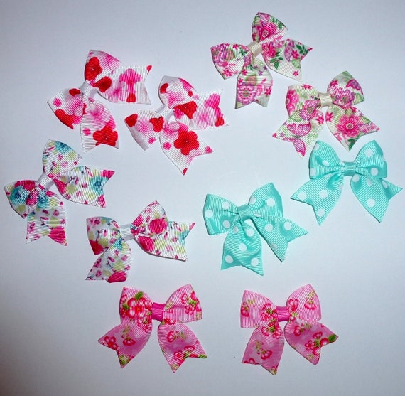 Puppy Bows ~ 10 dog bow for girls - pairs dog grooming pet hair bows - (218q)